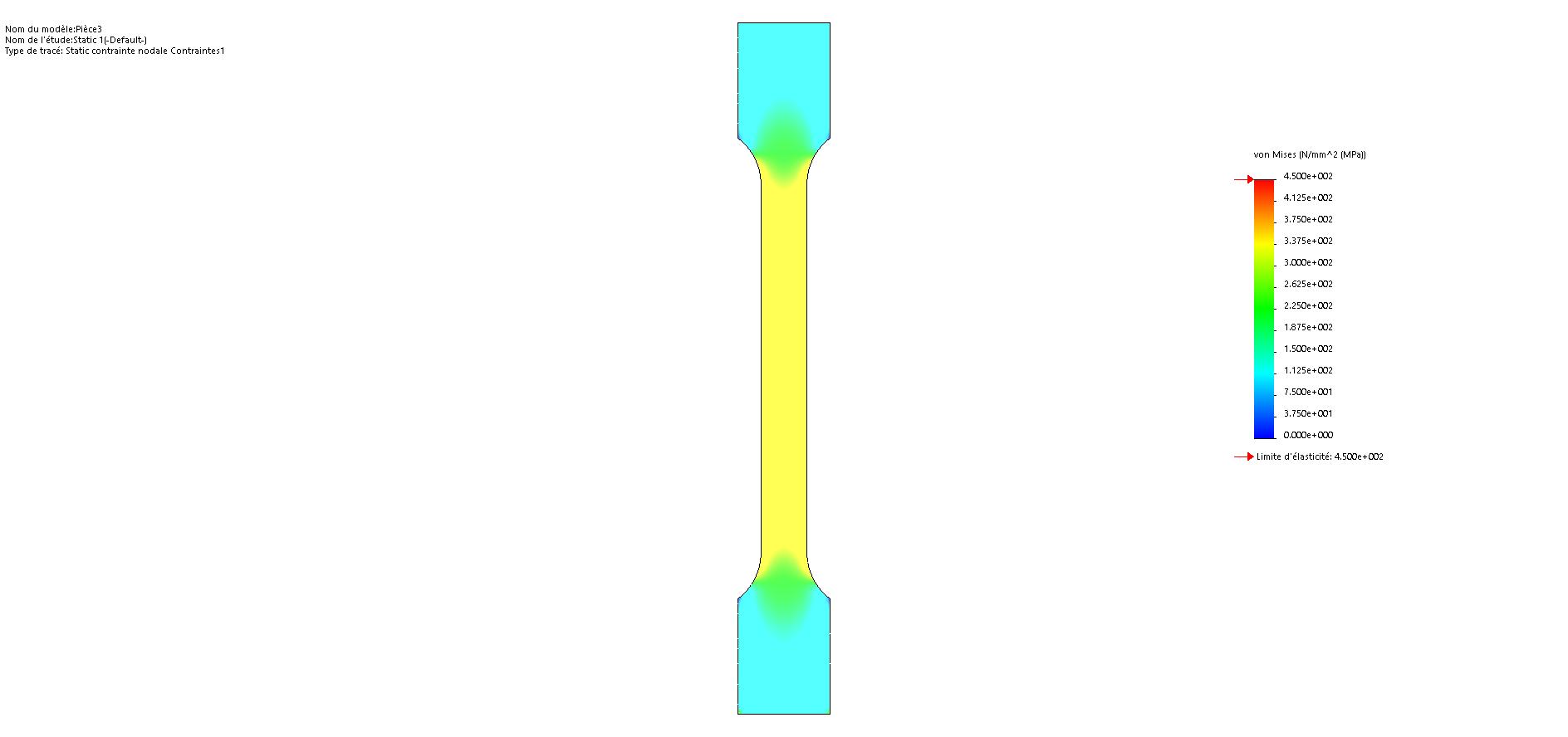Résultat d'un calcul par éléments finis d'une éprouvette